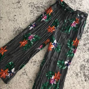 High waisted tropical striped wide leg pants